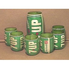 Glass Set, 7-Up, 7 Piece, Made From Bottles