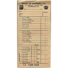 1960s Seven-Up Bottling Co Receipt (and Hires) - Pittsburgh