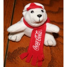 Bean Bag Plush/Magnet, Coca-Cola Polar Bear, Small, With Red Scarf and Cap