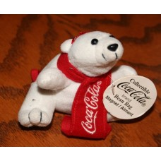 Bean Bag Plush/Magnet, Coca-Cola Polar Bear, Small, With Red Scarf and Bow in Hair