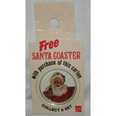 Coca-Cola Bottle Topper, FREE Santa Coaster With Purchase, Santa With Bottle, Wearing Hat