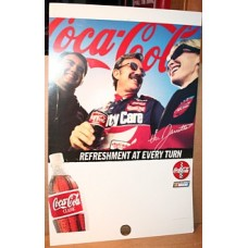Cardboard Coca-Cola Sign, Pole Mounted, NASCAR, Refreshment At Every Turn, 1998