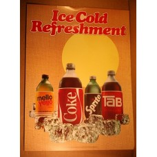 Cardboard Coca-Cola Sign, Ice Cold Refreshment, Throwaway Bottles, 18 by 24 Inches