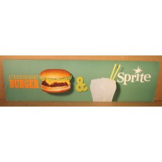 Cardboard Sprite Channel Card Sign, Cheeseburger & Sprite, 7 by 24 Inches