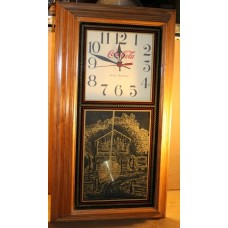 Coca-Cola Pendulum Clock, Battery Operated, Drink Logo, Wood Frame, Glass Front