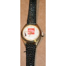 Coca-Cola Watch, Black Leather Band, Ladies, Bottle Sweep Second Hand