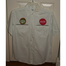 Coca-Cola 1950s Pinstripe Drivers Shirt, With 2 Vintage Patches, 14-14 1/2 Neck Size