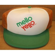 Hat, Mello Yello, White and Gold Top and Green Bill, Open Netting Back
