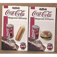 Magnets, Coca-Cola, Can and Hot Dog, Can and Hamburger, New on Card