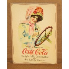 Magnet Plaque, Coca-Cola, Wood Sign, Girl In Touring Car