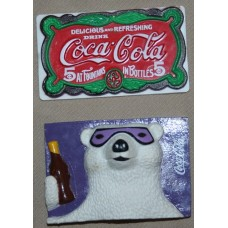 Magnets, Coca-Cola Plastic, Coca-Cola Delicious and Refreshing Sign, Polar Bear Holding Bottle