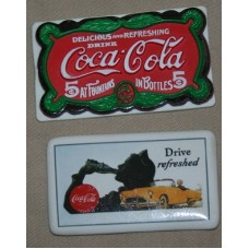 Magnets, Coca-Cola, Pair, Plastic Delicious and Refreshing and Ceramic Drive Refreshed