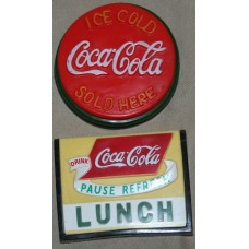 Magnets, Coca-Cola Plastic, Coca-Cola LUNCH Sign, ICE COLD SOLD HERE Sign