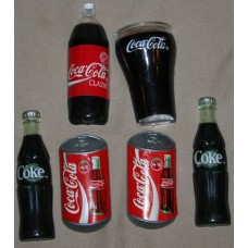 Lot of 6 Coca-Cola Magnets, 2 Coke Bottles, a 2-Liter Bottle, 2 Cans, and a Bell Glass
