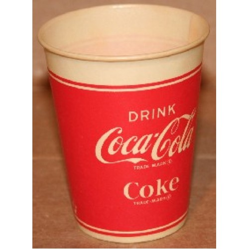 Wax Cup, Coca-Cola, 1940's, Red with White Logo, Drink Coca