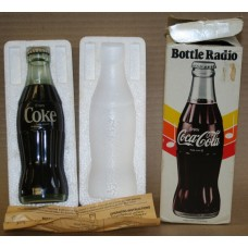"Coca-Cola Bottle Shaped Radio, 8"" tall, in orginal box, with static"