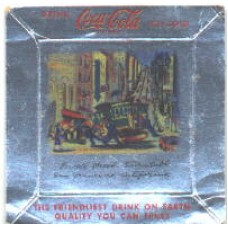 Ashtray/Coaster, 1950s Coca-Cola, Foil, San Francisco Scene, Powell Street