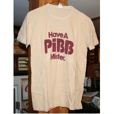 Mr Pibb Tee Shirt, Have a Pibb, Mister, Tan With Purple Lettering, Large