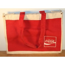 Coca-Cola Heavy Canvas Tote Bag, Red With Enjoy Wave Logo, Pocket On Front