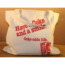 Coca-Cola Canvas Tote Bag, Have A Coke And A Smile, Coke Adds Life, With Cup of Coke