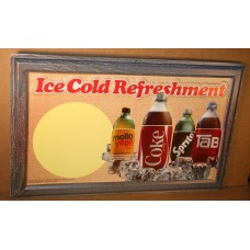 Plastic Vacuformed Coca-Cola Sign, Ice Cold Refreshment With 3-D Bottles, Dual Sided Hanger